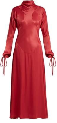 Vivienne Westwood High-neck long-sleeve satin dress
