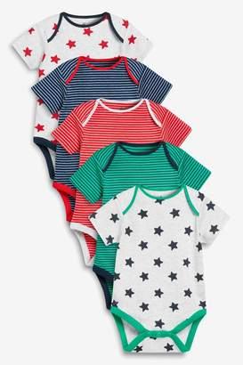 Next Boys Multi 5 Pack Stripe And Star Short Sleeve Bodysuits (0mths-2yrs) - Grey