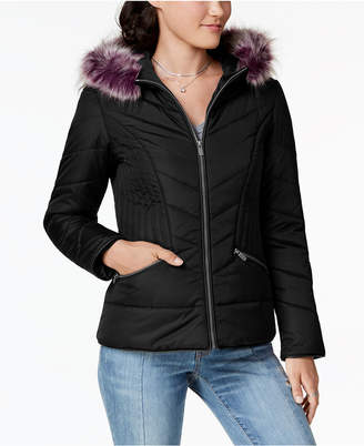 Celebrity Pink Juniors' Faux-Fur-Trim Hooded Puffer Coat