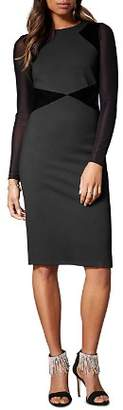 Karen Millen Velvet-Panel Sheath Dress