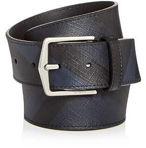 Burberry Joe London Check Embossed Leather Belt