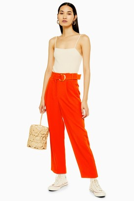 Topshop Red Belt Tapered Trousers