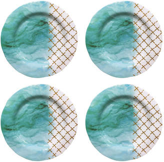 Jay Imports Soiree Teal & Gold Salad Plates, Set of 4