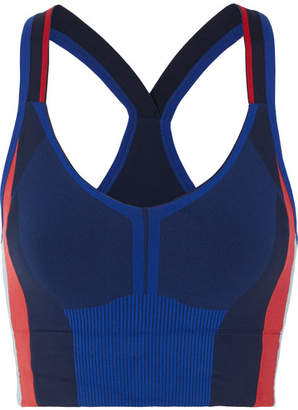 LNDR - Trigger Color-block Stretch-knit Sports Bra - Navy