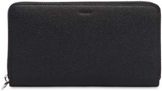 Bally Saffiano Leather Zip Around Wallet