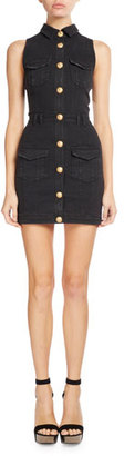 Balmain Sleeveless Denim Shirtdress $1,976 thestylecure.com