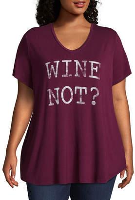 Boutique + Boutique+ Short Sleeve V Neck Graphic T-Shirt - Plus