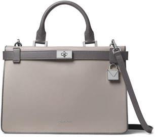 MICHAEL Michael Kors Tatiana Medium Leather Satchel Bag - Silvertone Hardware