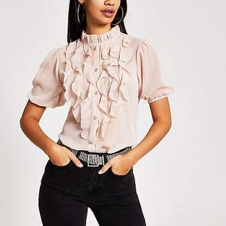 River Island Pink ruffle front short sleeve top