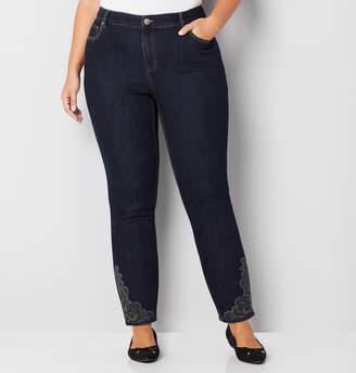 Avenue Embellished Skinny Ankle Jean