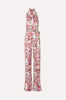 Seren - Heyday Floral-print Silk-satin Halterneck Jumpsuit - White