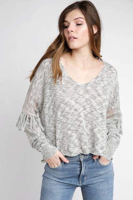 Wildfox Couture Marled V Neck Fringe Sleeve Pullover