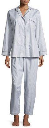 P Jamas Pinstriped Long-Sleeve Pajama Set, Gray/White $195 thestylecure.com