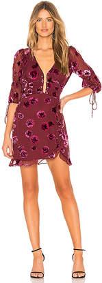 For Love & Lemons Sophie Velvet Floral Mini Dress
