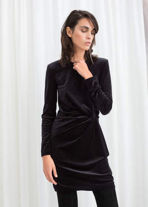 And other stories Glitter Velour Mini Dress