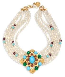 Ben-Amun Crystal and Faux Pearl Multi-Strand Collar Necklace