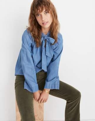Madewell Denim Tie-Neck Popover Shirt
