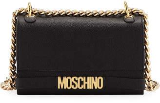 Moschino Glossy Chain Leather Crossbody Bag