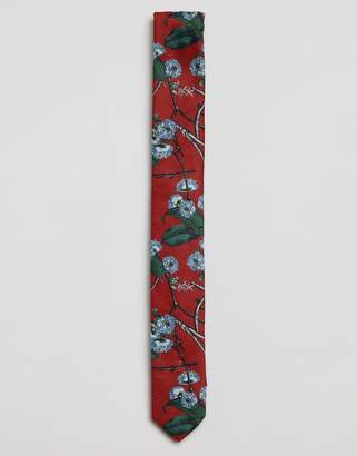 Asos Floral Tie In Red
