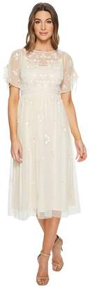 Adrianna Papell Tie Shoulder 3D Beaded BoHo Cocktail Dress Women's Dress
