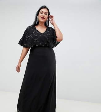 353b83096ce Lovedrobe Luxe Plus Lovedrobe Luxe Flutter Sleeve Embellished Maxi Dress