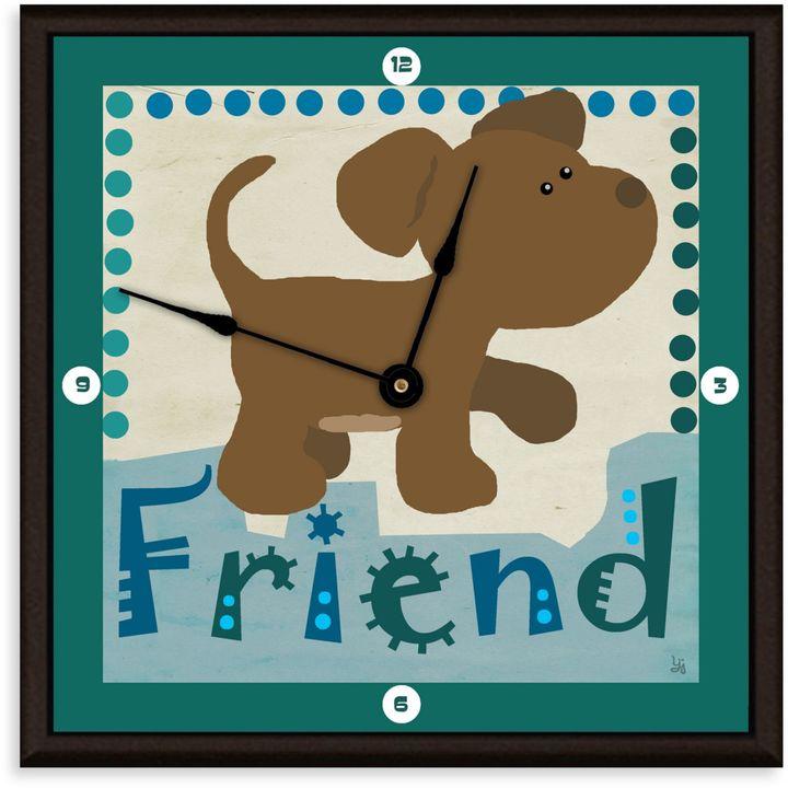 Green Leaf Art Friend Puppy Decorative Art Clock