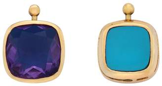 Marla Aaron Single Cushion Lozenge with Amethyst and Turquoise - Yellow Gold