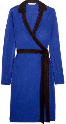 Diane von Furstenberg - Jeannae Two-tone Stretch-knit Wrap Dress - Cobalt blue $470 thestylecure.com