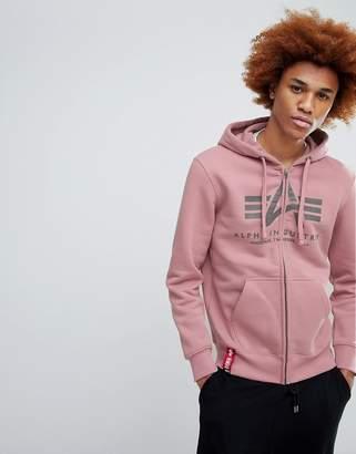 Alpha Industries Basic Logo Hoodie in Pink
