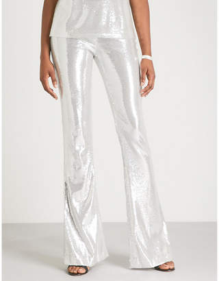 Galvan Galaxy flared high-rise sequinned trousers
