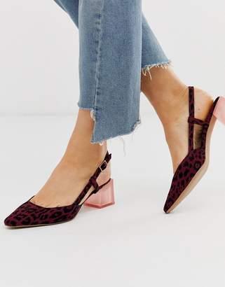 Asos Design DESIGN Sleek square toe slingback mid-heels in burgundy leopard