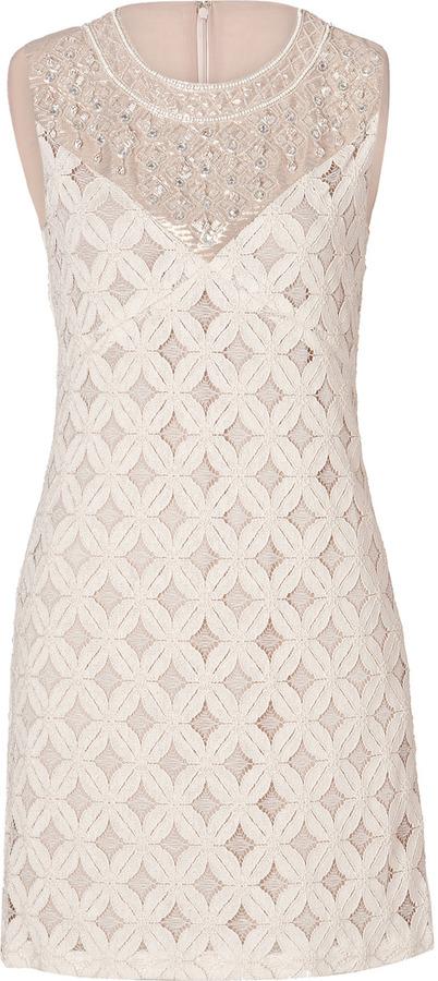 Anna Sui Crochet Lace Dress in Cream