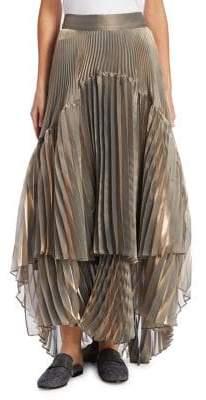 Brunello Cucinelli Lame Hi-Lo Pleated Skirt