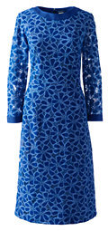Lands' End Women's Tall 3/4 Sleeve Eyelet Shift Dress-Sea Cliff Blue Lace $129 thestylecure.com