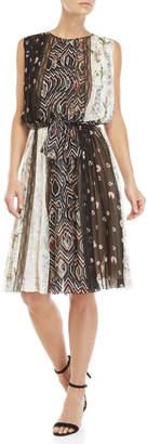 Giambattista Valli Mixed Print Pleated Bow-Waist Dress