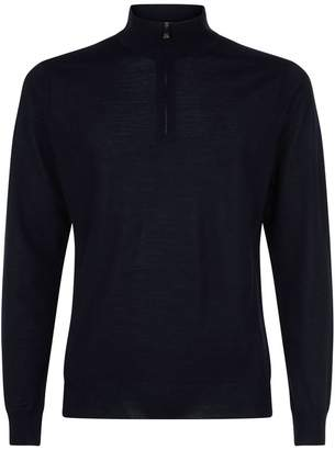 Corneliani Wool Zip-Neck Top