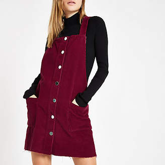 River Island Dark red cord overall dress