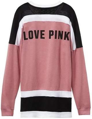 Victoria's Secret Pink PINK Varsity Crew Pullover Coloblock Sweatshirt Begonia