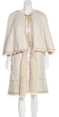 Hermes Shearling Capelet Coat