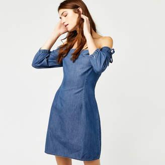 Warehouse Bardot Denim Dress