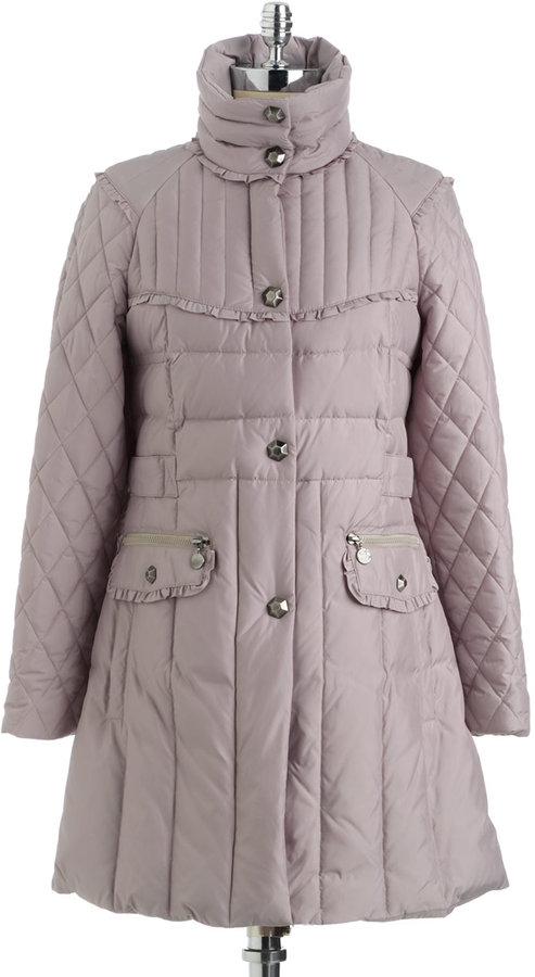Betsey Johnson Shawl-Collar Ruffle-Trim Puffer Coat