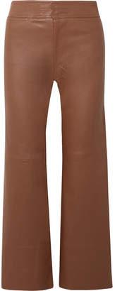 Apiece Apart Monterey Cropped Leather Wide-leg Pants - Brown