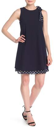Tahari Polka Dot Bow Crepe Shift Dress