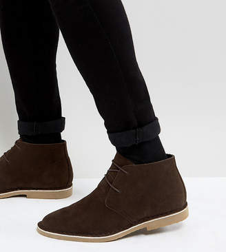 Asos Design Wide Fit Desert Boots In Brown Faux Suede