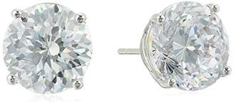 Silver-Plated 100 Facets Collection Cubic Zirconia Round Stud Earrings