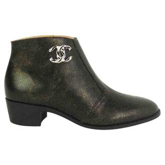 Chanel Anthracite Leather Ankle boots