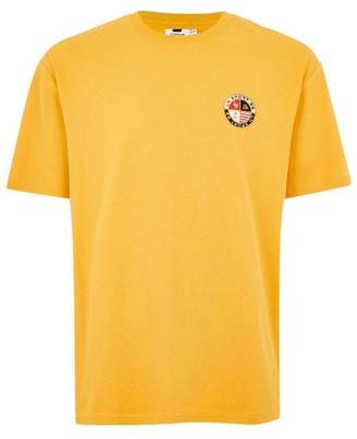 Topman Mens Yellow Crest Embroidery T-Shirt