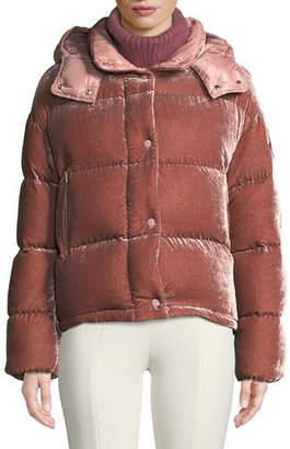 9b6072b3f0 Moncler Caille Velvet Puffer Coat w/ Detachable Hood