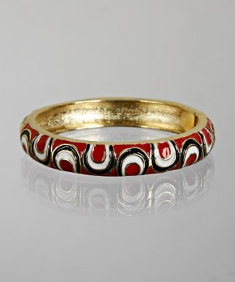 R.J. Graziano red swirl enamel hinge bangle