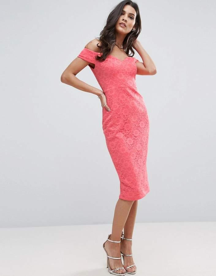 AsosASOS Lace Sweetheart Bardot Midi Body-Conscious Dress